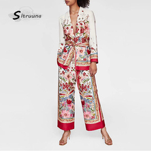 Sitruuna Women Autumn Long Sleeve Print Blazers Jackets Vint