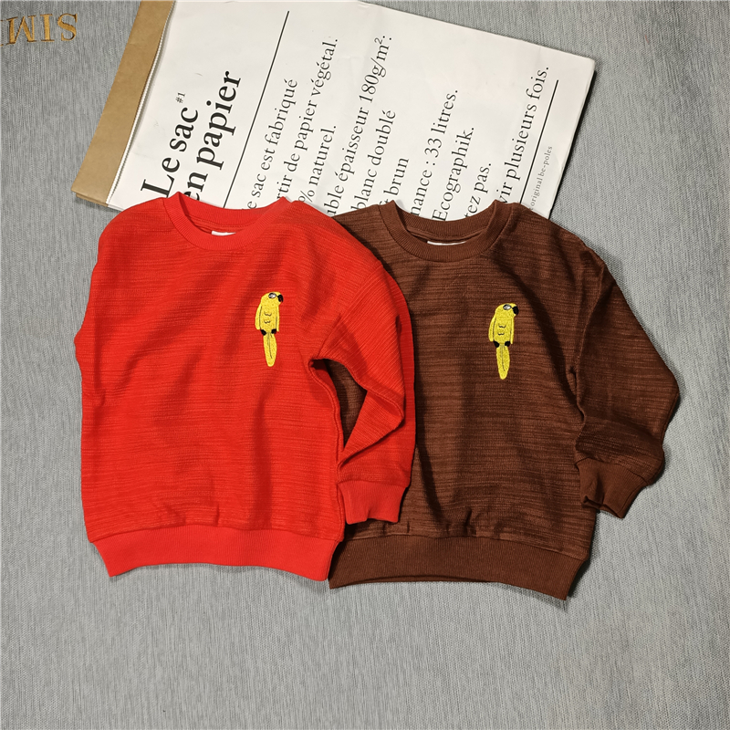 yellow parrot sweaters red/brown for  kids boys girls autumn 1