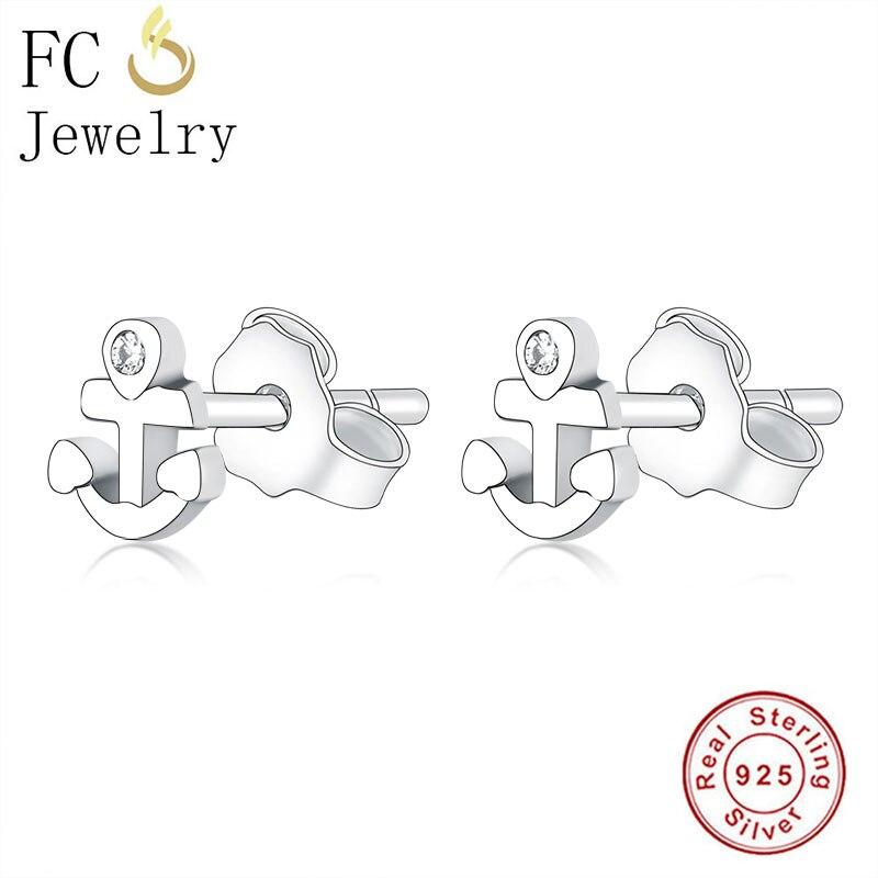 FC Jewelry 100% 925 Silver Small Cross Female Symbol Piercing Stud Earrings For Women Accessories Minimalist Brincos 2020 NEW