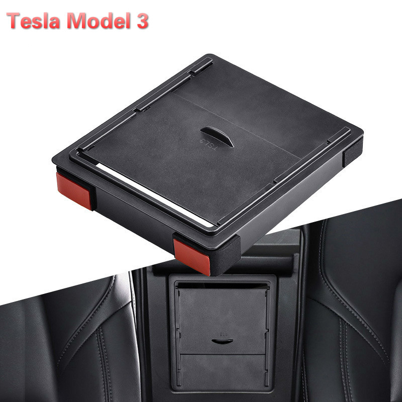 Storger For Tesla Model 3 Car Armrest Box Storage Organizer Containers Transparent Hidden Holder Box Replacement 2017 2018 2019