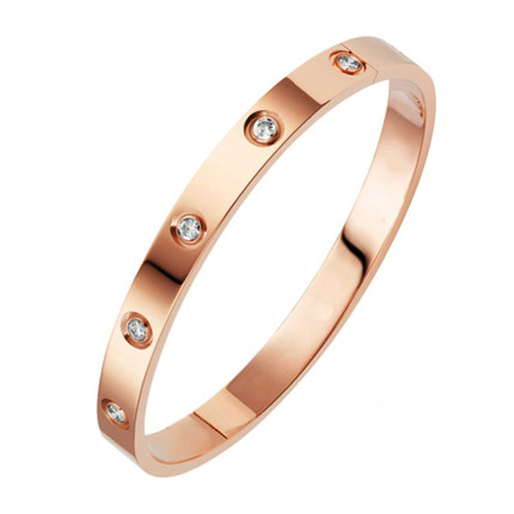 New Fashion Classic Women's Bangles For Women Gold Rose Gold Silver Color Rhinestone Bracelet Cuff Simple Trendy Jewelry(China)