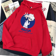 Kawaii hunter x hunter hoodies feminino manga comprida camisola killua zoldyck anime manga preta hoodies bluzy topos roupas