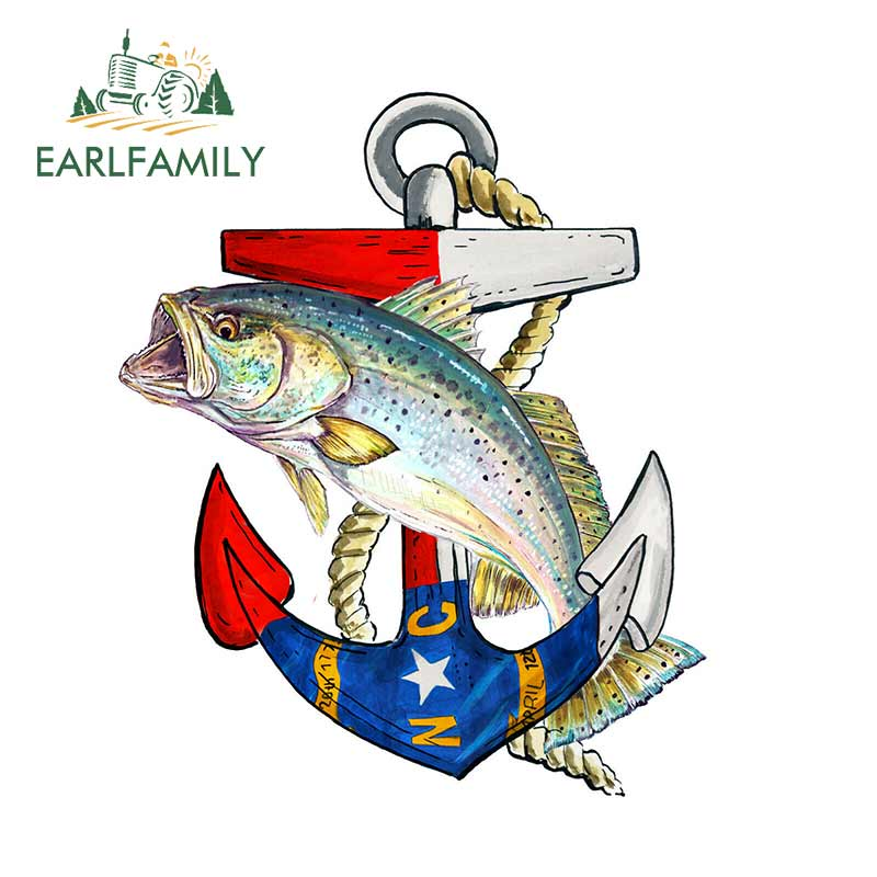 EARLFAMILY 13cm X 10.8cm NC Anchor Speckled Trout Vinyl Decal Sticker Car Truck Cooler Tumbler Car Sticker Waterproof Graphic