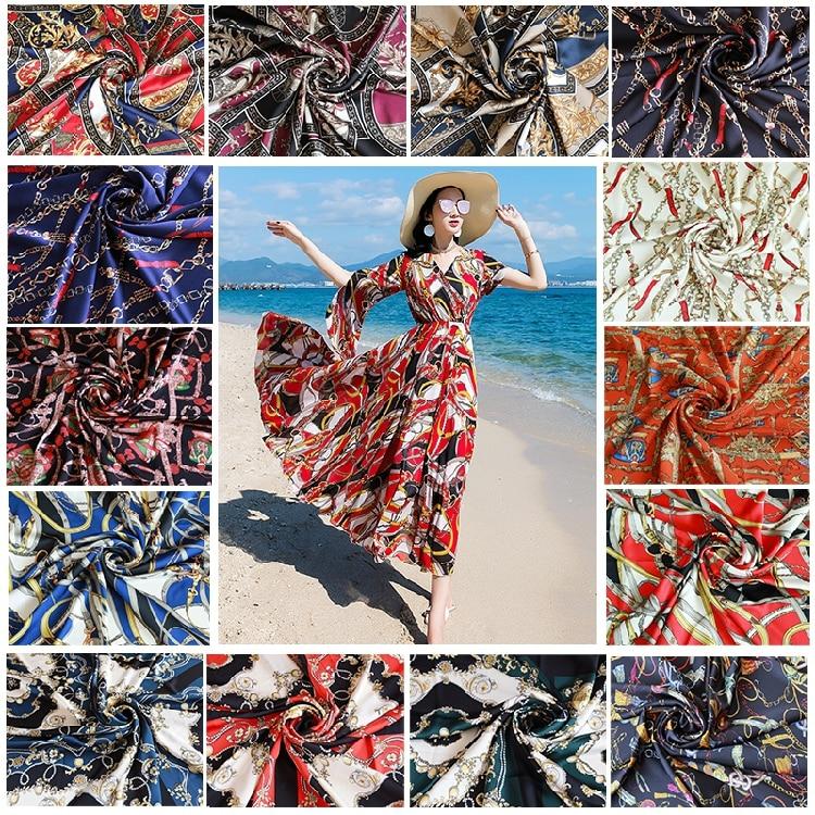 Crane Printed Chiffon Fabrics Chinese Costume Hanfu Material Cloth Craft DIY Red
