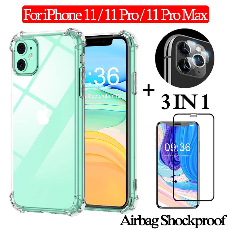 3-in-1 Glass + 360 Full Protective Case for iPhone 11 Pro Airbag Phone case 11 promax Clear TPU Case for iphone 11pro Back Cover