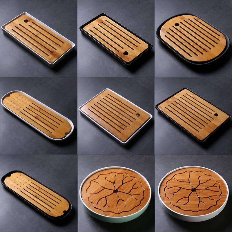 Bamboo Tea Tray Ceramic Water Storage Type Simple Melamine Tray Portable Travel Kung Fu Tea Set Tea Sets a Generation of Fat
