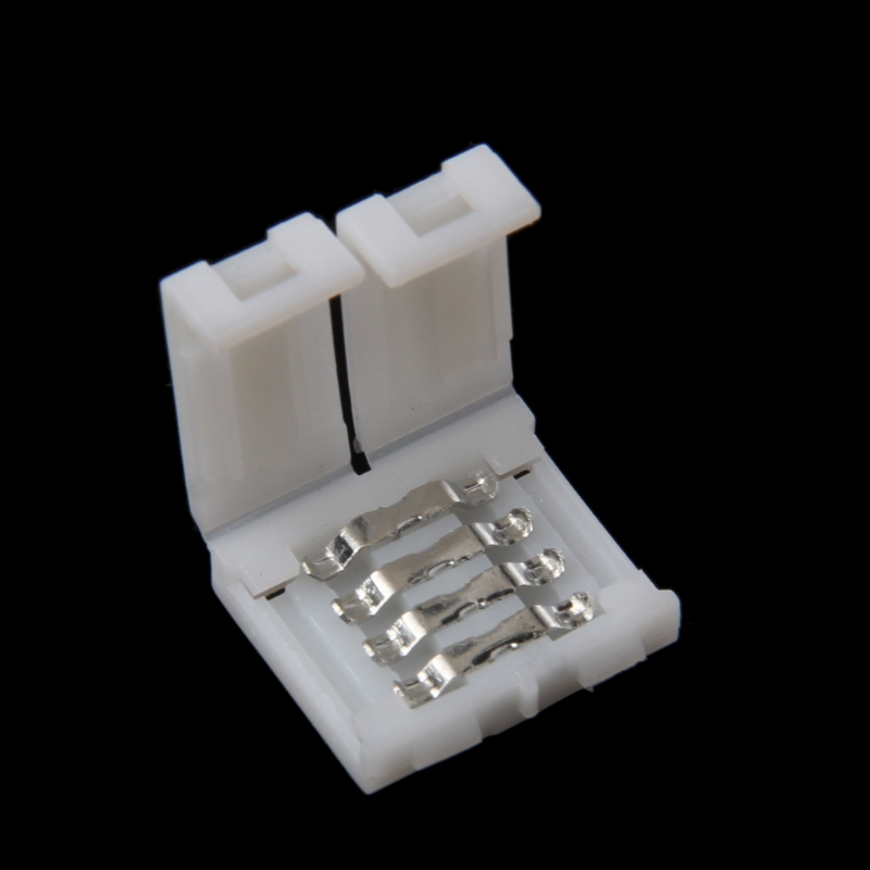 Solderless Clip-on Coupler Connector 4 Pin 10mm For 5050 RGB LED Strip Light E15A