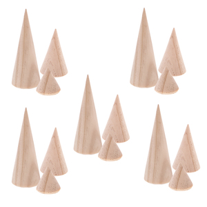 Image 3 - 15 Pieces S/M/L Size Cone Shape Natural Unpainted DIY  Wood Jewelry Display Ring Holder Display Rack Stand Organizer