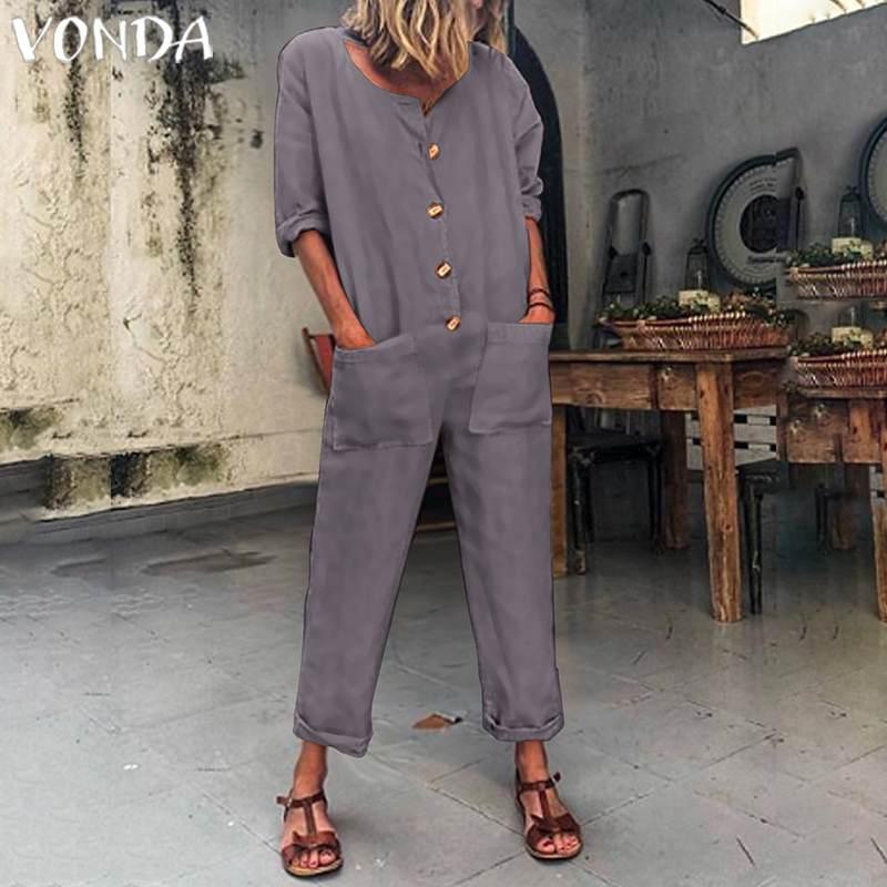 VONDA Womans Autumn Cotton Rompers 2020 Women Jumpsuits Button Office Ladies Playsuits Casual Loose Pantalon Plus Size Pants