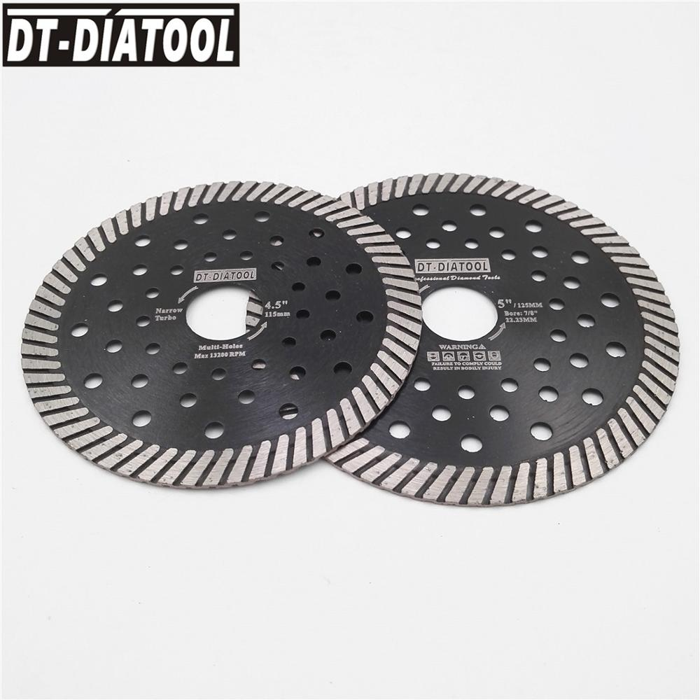 DT-DIATOOL 2pcs Dia 115mm 125mm Diamond Blade Narrow Turbo Multi Holes Saw Blades Wet Or Dry Cutting Disc For Granite Marble