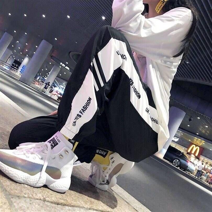 Hot Sale Korean Harajuku Pants Solid Ankle-length Loose Women Sweatpants Hip Hop College Girls Female Palazzo Pants