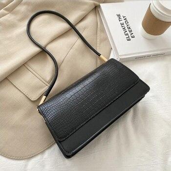 Alligator Pattern Baguette Bags for Women 2020 New Luxury Handbags Designer Shoulder Bag Fashion PU Leather Female Underarm Bag - Black, 24x13x8cm