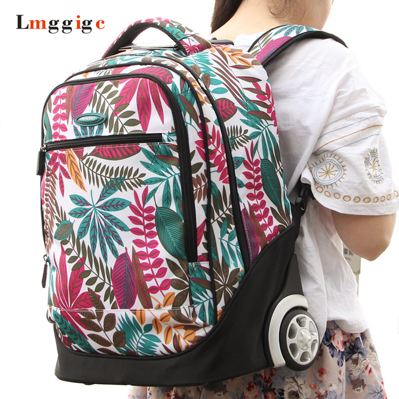 Primary And Secondary Schoolbags With Wheel Children Travel Luggage Rolling Suitcase Bag Kids Multifunction Backpack Only 2 Kg