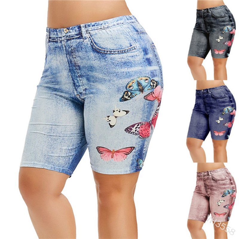Print Short Legging Women Jeggings Perfect Fit Jeans Leggings High Waist Elastic Capri Legging Pants Summer Breeches False Denim