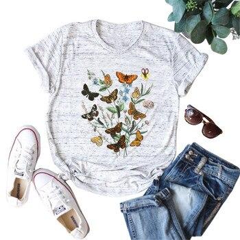 Camisetas coloridas con estampado de mariposas para mujer, camisetas de manga corta con cuello redondo, camisetas gráficas bonitas, camisetas informales de verano de gran tamaño Harajuku