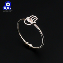 Lucky Eye Hollow Fatima Hamsa Hand Ring Silver Color Adjustable Open Finger Ring for Women Girls Men Party Jewelry BD97