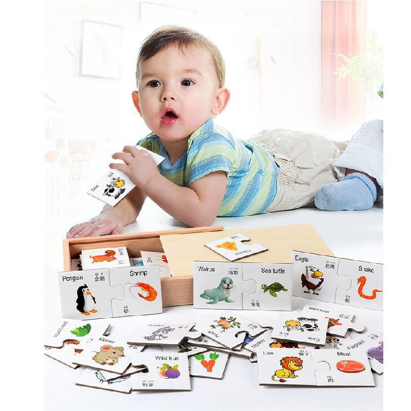 Baby Learning Study English Montessori Cognitive Match Puzzle Card Education Box