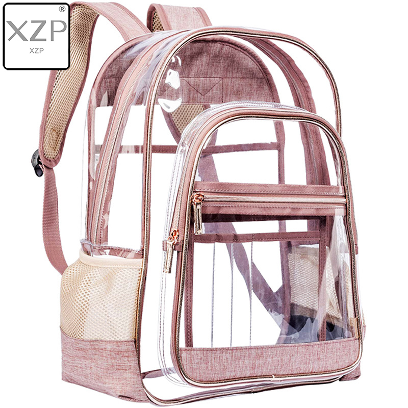 XZP Women Mini Transparent Backpacks Clear PVC Zipper Student School Bag School Bags For Teenage Girls Travel Bag Mochila Mujer