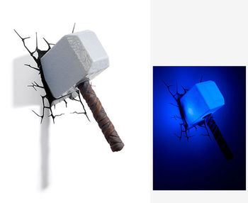 [Funny] Creative The Avengers Thor hammer mjolnir toy model Unique 3D Wall Lamp LED light hammer lamp Home room decorations gift