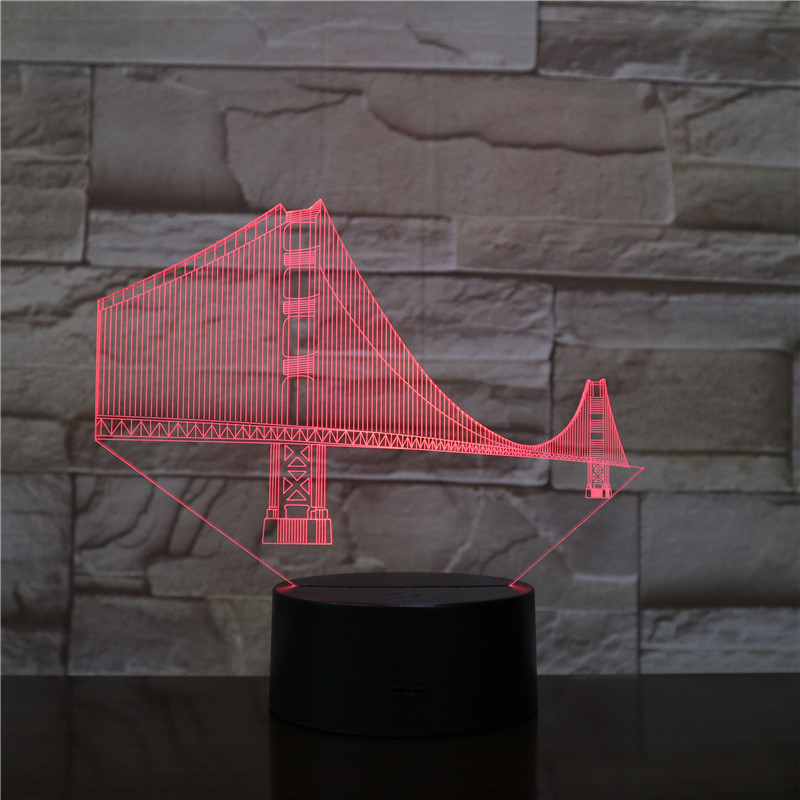 Visual USB 3D Led Night Light Multicolor Golden Gate Bridge Famous Buildings Home Decor Bedroom Lights Desk Lamp Festival Gifts Night Lights     - title=