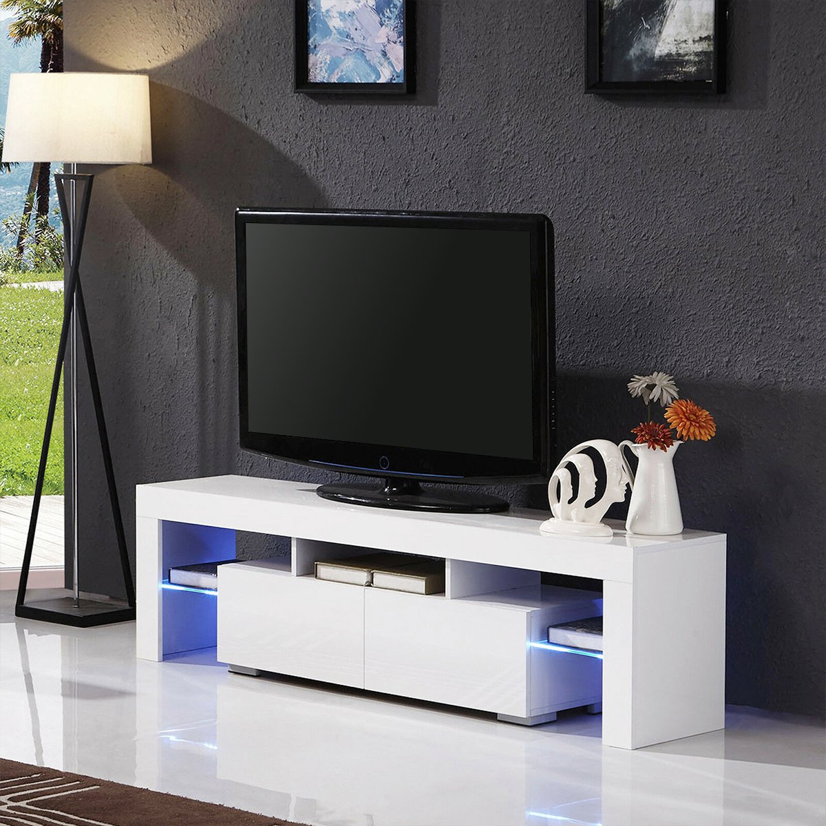 57'' Top LED Light High Gloss TV Unit Cabinet TV Stand Modern Living Room Home Furniture Led Monitor Stand TV Cabinet Table