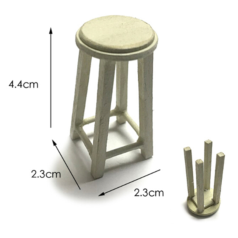 1/12 Dollhouse Miniature Accessories Assemble Mini Wooden Stool Simulation Chair Furniture Model Toys For Doll House Decoration