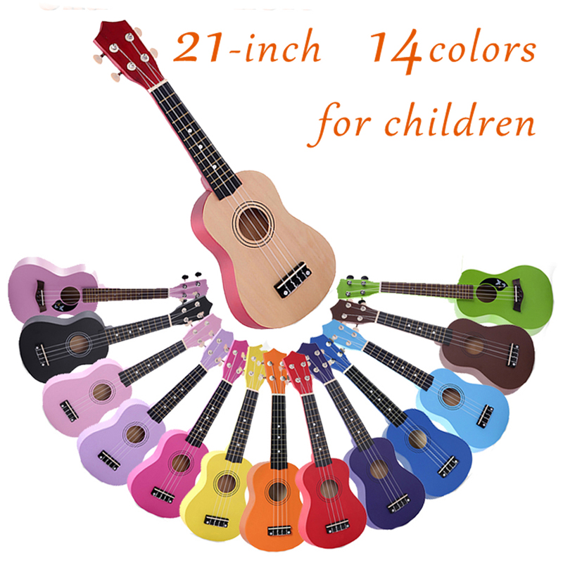 21 Inch Ukulele Hawaii Wooden 4 String Guitar Portable Size Ukelele Music Instrument For Beginner Children Kids Gift UK001