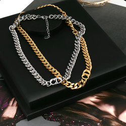 Women's stainless steel necklace chain Thick necklace for women punk choker necklace gold Letter Necklace