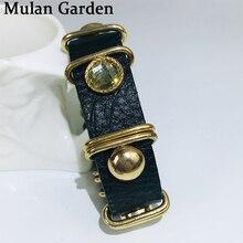 M&G Trendy Genuine Leather Punk Bracelet Black Gold Personality Stone Star Punk Bracelet Fashion Jewelry Women Accessories Gifts джинсы g star g star gs001ewfzly1