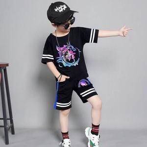 Детская одежда для мальчиков летняя одежда Одежда для мальчиков-подростков в стиле хип-хоп повседневный костюм Детская рубашка с короткими рукавами комплект со штанами для детей 4, 6, 8, 12 лет