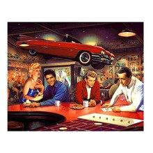 Diy 5D Diamant Schilderij Monroe en auto Kruissteek Borduurwerk Volledige Boor Hars Mozaïek Home D