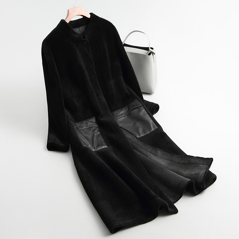 Fur Shearling Sheep Coats 2020 Long Warm Women's Fur Coat Female Winter Jacket Women Real Wool Overcoat KQN68290