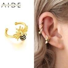 AIDE – boucles d'oreilles 3D Non percées en forme d'insecte en forme de C, Clip en argent Sterling 925, boucles d'oreilles, nez, anneau d'oreille, manchette