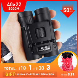 HD 40x22 Binoculars Long Range Powerful Binoculars 2000M Folding Mini Telescope Optics Waterproof BAK4 FMC For Hunting Sports Ca