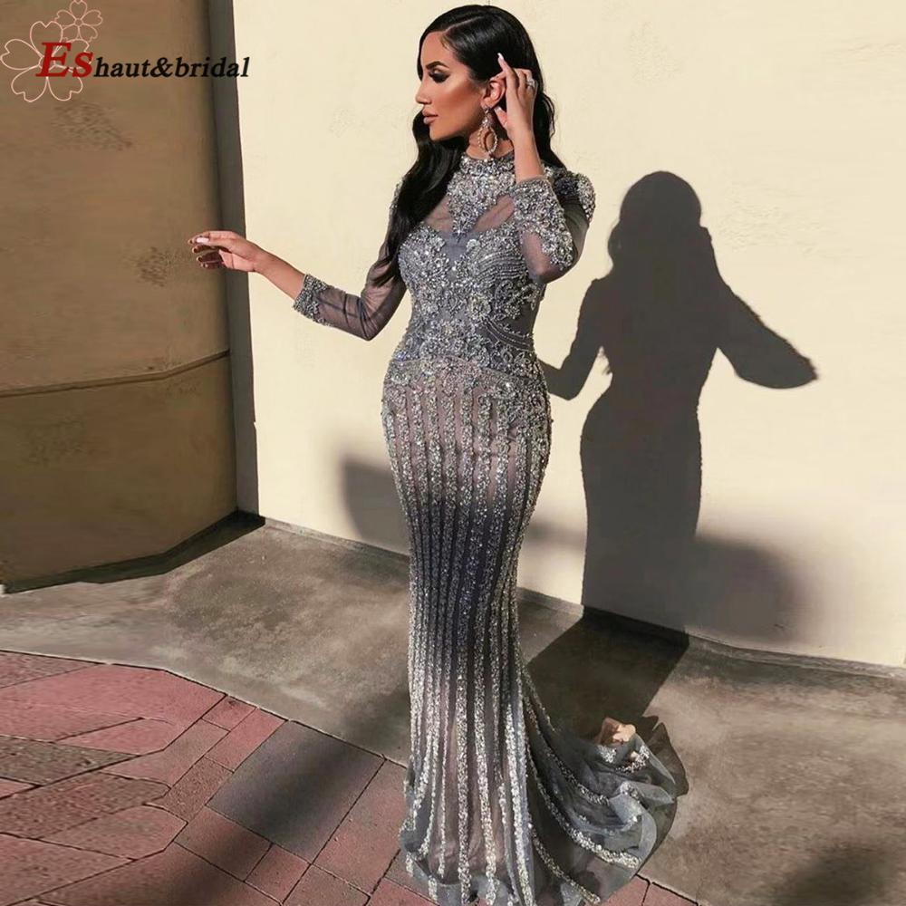 Dubai Luxury Evening Dresses For Women 2020 Beading Sequined Long Sleeves Mermaid Sparkly Formal Party Gowns