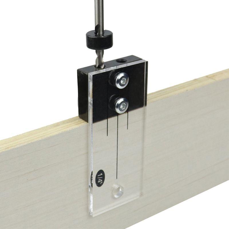 Dowel Jig Acrylic Hardened Steel Pocket Hole Jig 1/4 Inch Drill Guide Locator Hot 63HF