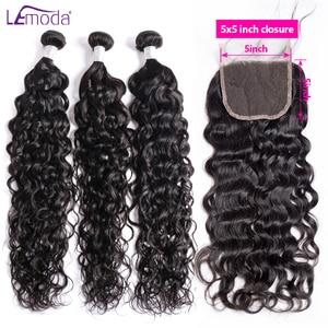 Lemoda Water Wave Human Hair Bundles With Closure Brazilian Hair Weave Bundles With 4x4 5x5 6x6 Lace Closure(China)