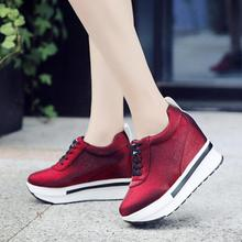 red pleuche shoes woman Platform sneakers Breathable Ladies Casual Shoes Comfort