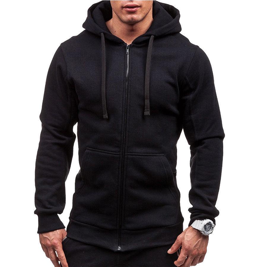 H8848d49fe4444991b8b31ebf7a834b655 Men's Solid Zip Up Hoodies Classic Modis Winter Hoodies Sweatshirt Jacket Coat Tops Long Sleeve Casual Male Hoodies