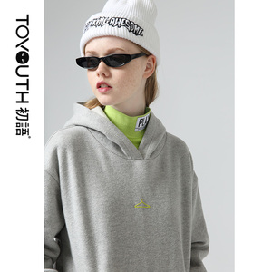 Image 4 - Toyouth Chic Style Printed Hooded Sweatshirts Loose Long Sleeve Hoodies Women Multicolor Solid Pullover Tracksuits