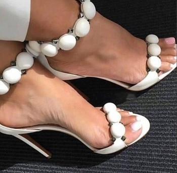 Designer Shoes Women Summer Button Studded Sandals Pyramid Studs Decorated High Heels Pom Pom Stiletto Heels Pumps Hot Sale