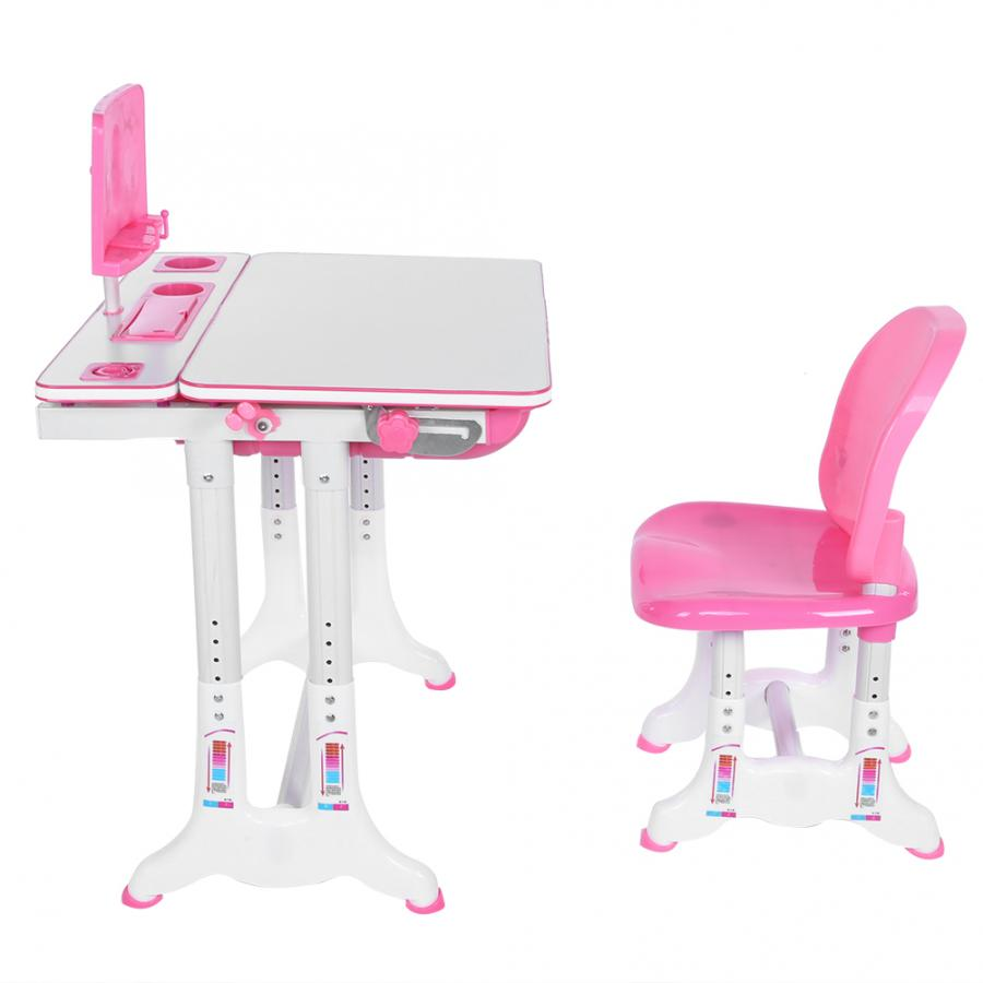 Pink Simple Studying Table Chair Painting Learning Desk And Chair Set Studying Table Set