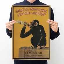 Gorilla Series Retro Kraft Paper Poster Room Decoration Painting Wall Sticker Home Decoration Picture A