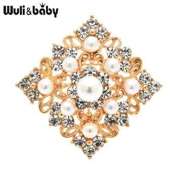 Wuli&baby Pearl Rhinestone Geometric Shape Brooches Women Metal Flower Brooch Pins Gifts rhinestone insert ladybird shape brooch