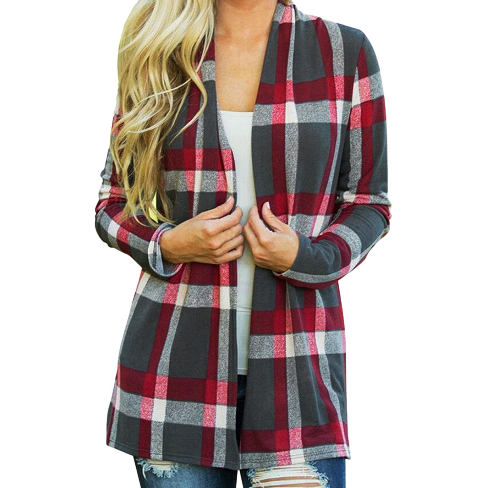Women Plaid Jacket New Vintage Tweed Jacket Spring Streetwear Pocket Jackets Long Sleeve Coat Veste Outerwear Femme Modis #LG
