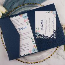 Прямая 50X Золотой/темно-синий лазерная резка Три-складные свадебные пригласительные карты набор Персонализированные карманные пригласительные индивидуальные RSVP