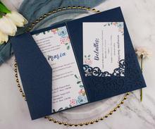 Kit de tarjetas de invitación de boda de tres pliegues, corte láser dorado/azul oscuro, 50X, invitación de bolsillo personalizada, RSVP