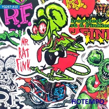 10pcs Rat fink Mouse Stickers for Mobile Phone Laptop Luggage Guitar Case Skateboard Bike Car