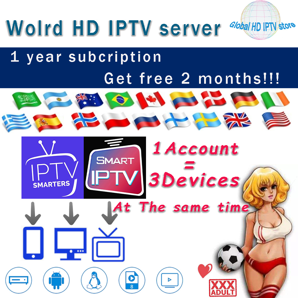 World HD IPTV Subscribe Adult IPTV Europe Spain Tv Box MAG X96 M3U Android IPTV Smarter Support 2&3 Devices At Same Time