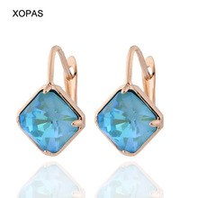Classic Big Square Colorful  Earrings 585 Rose Gold Earrings  Gem Stone Geometric Drop Earrings for Women Fashion Jewelry pair of stylish faux gem bead water drop earrings for women